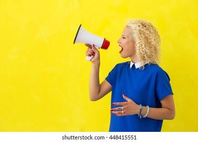 Woman speaking in megaphone
