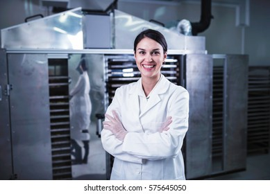 Woman Specialist Working With Food Drying Chamber