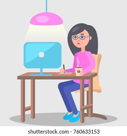 Woman in spectacles sits at table on which stands computer cup of coffee and writes something in office with grey walls and pink lamp. Worker in comfortable and cozy conditions  illustration.