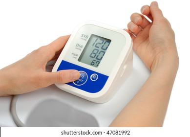 woman with sphygmomanometer tonometer metering blood pressure 120 80 isolated over white