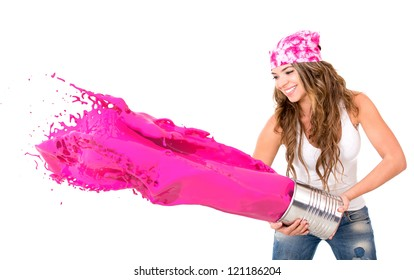 Woman splashing pink paint - isolated over a white background