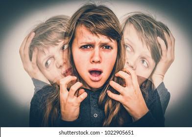 Woman with split personality suffers from schizophrenia - schizophrenia disease concept - retro style