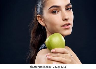 woman, sport, apple, diet, healthy lifestyle
