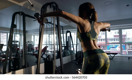 Woman sport body strong and beautiful. Athletic woman pumping up muscles with dumbbells in the fitness club. Rear view of young female doing exercises in gym.Sportwear.
