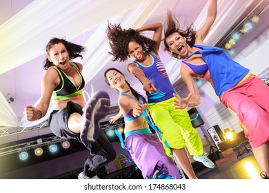 woman in sport dress at an aerobic exercise