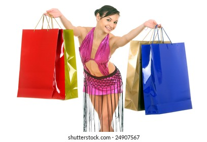 Woman in sport dress with bag. Isolated.