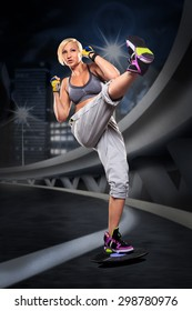 woman in sport dress at boxing exercise
