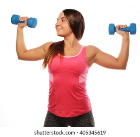 Woman in sport equipment practice with hand weights isolated on white
