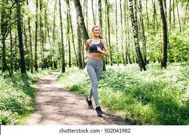woman sport park forest