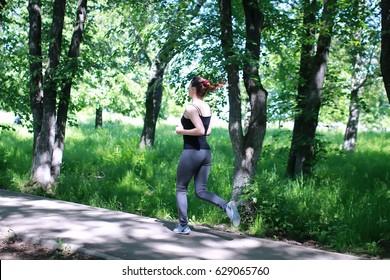 woman sport run in park outdoor