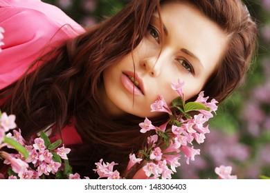 woman in spring flowers