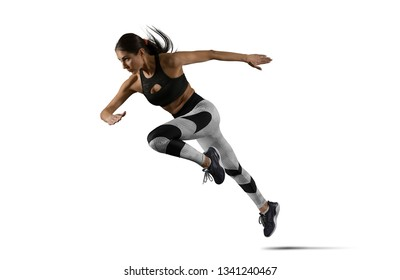 Woman sprinter leaving starting. Isolated image