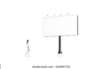 Woman stand beside blank white banner mock up on city billboard. Empty bill board mockup isolated. Clear canvas template on street sign. Large outdoor poster screen. Big cityboard signage stand.