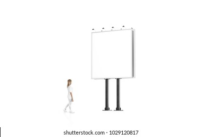 Woman stand beside blank white banner mockup on city square billboard. Empty bill board mock up isolated. Clear template on sity street sign. Outdoor poster screen. Cityboard signage