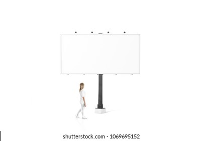 Woman stand near blank white city billboard mock up. Empty bill board mockup isolated. Clear bilboard canvas template on street sign. Outdoor poster screen. Big cityboard signage stand.