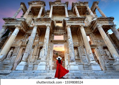 Woman standing  at Ephesus ancient city in Izmir, Turkey.