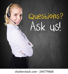 """woman standing in front of a chalkboard with the message """"Questions? Ask us!"""""""