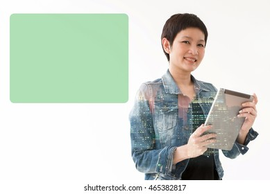 woman standing hold computer tablet with blank touch screen sign