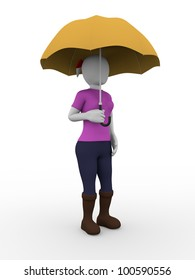 A woman standing and holding an umbrella