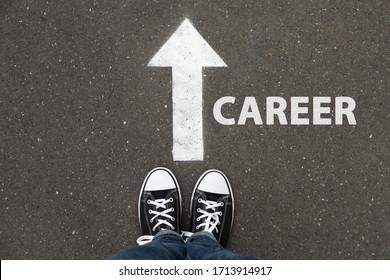Woman standing near arrow on asphalt, top view. Career choice concept