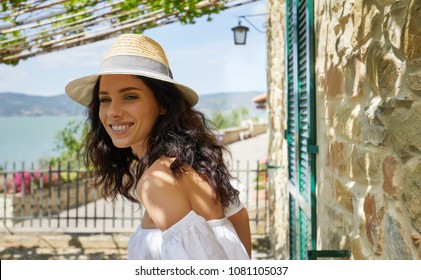 woman standing on the terrace with great view