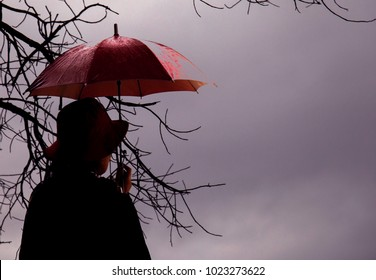 a woman standing with an umbrella and Looking forward.alone in winter or autumn