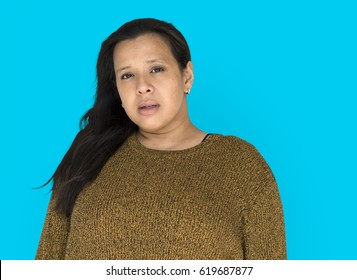 Woman is staring to a camera