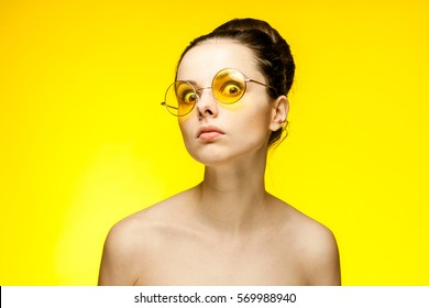 Woman staring eyes looking at the camera