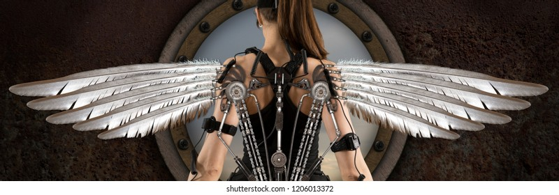 Woman with steampunk wings. Futuristic concept. Steampunk style
