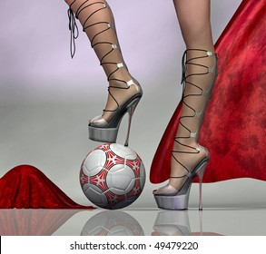 a woman steps with her heels on a soccer-ball