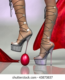 Woman steps on an egg with her heels