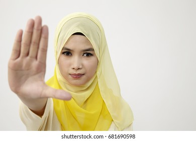 woman with the stop hand gesture