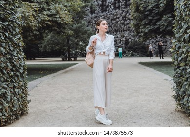 Woman street photo portrait, backpack travel girl,Pretty woman posing in the park, using backpack, travel vibes, hipster girl, outdoor close up portrait, happy face, smile, iwatch, emotion face, mood
