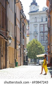 Woman in the streets of Prague, Czech Republic