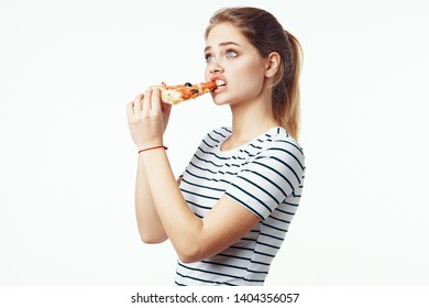 Woman in striped masterpiece pizza diet fast food
