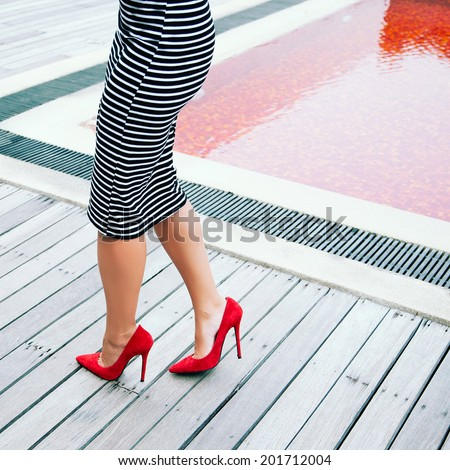 Woman Stripy Black White Dress Posing Stock Photo Edit Now