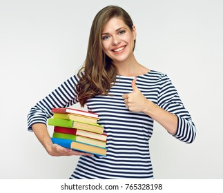 Woman With Book Thumbs Up White Background Images Stock Photos Vectors Shutterstock Enjoy your stay and if you like the level of book tumbs. https www shutterstock com image photo woman student holding pile book showing 765328198
