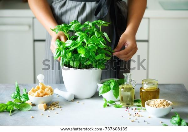 Femme dans un tablier de style tenant une casserole au basilic organique frais, cuisine blanche à l'intérieur. Copier l'espace. Concept de mode de vie