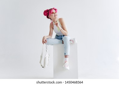 woman in stylish clothes with pink hair