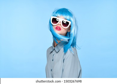 woman stylish female wig colorful style young