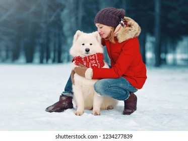 Woman with stylish white Samoyed dog walking together in winter park