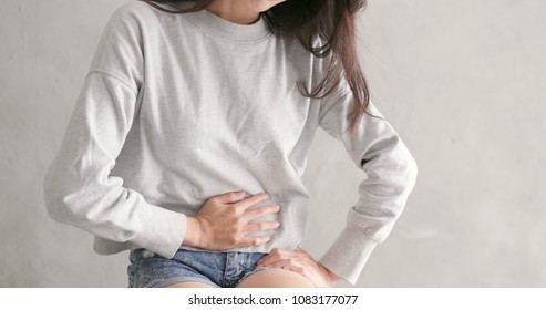 Woman suffer from stomach pain