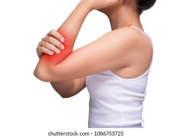 woman suffering from arm pain, painful in arm muscles. red color highlight at arm , arm muscles isolated on white background. health care and medical concept. studio shot