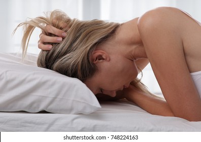 Woman Suffering From Depression laying on bed, Bed , Sleep Disorders, Insomnia