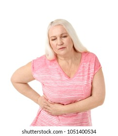 Woman suffering from flank pain on white background