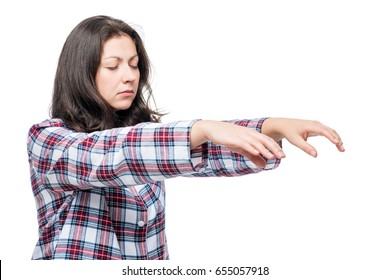 Woman suffering from sleepwalking, portrait on white background
