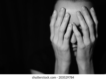 Woman suffering from stress and depression.