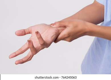 woman suffering from trigger finger, cps, wrist joint pain, arthritis, gout