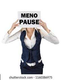 A woman in a suit standing holding a piece of paper with the word menopause at the level of the face. Conceptual image menopause in women
