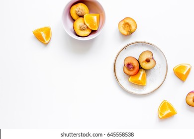 woman summer breackfast with orange and peach fruits on white background flat lay mockup